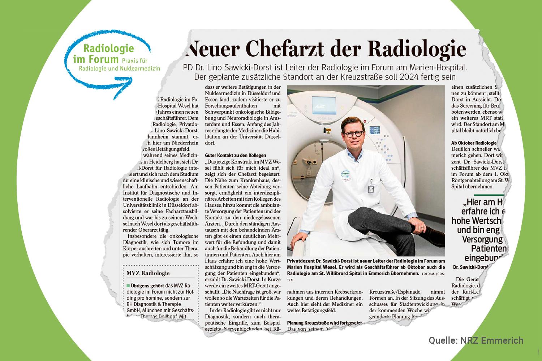 Aus der Presse: Chefarzt Dr. Sawicki-Dorst baut die Radiologie Wesel weiter aus